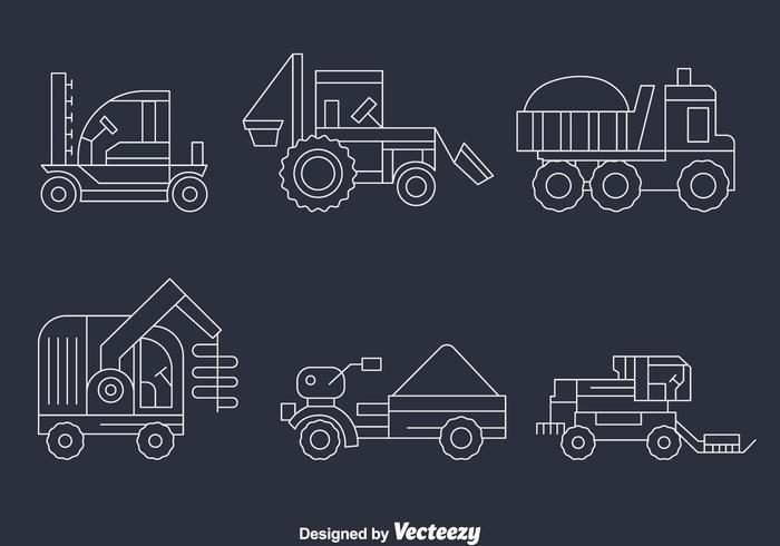 Harvest Tractors Line Vector