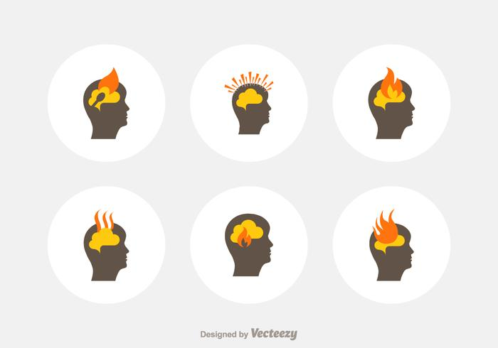 Head Burnout Vector Icons