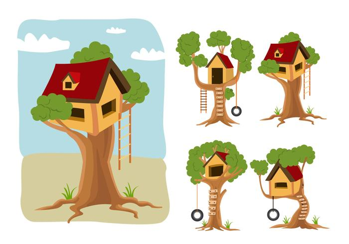 Treehouse vector cartoon