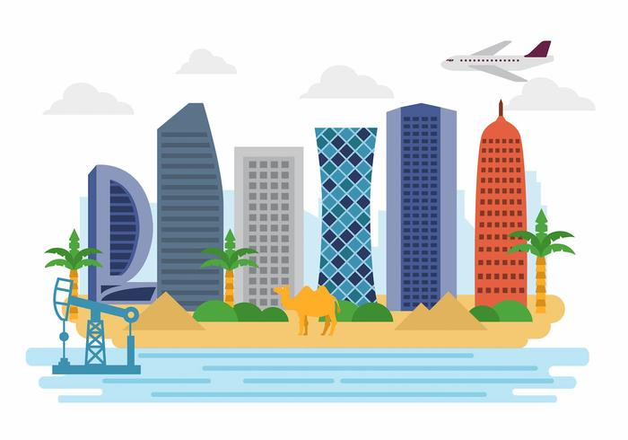 Free Welcome to Qatar Landscape Vector