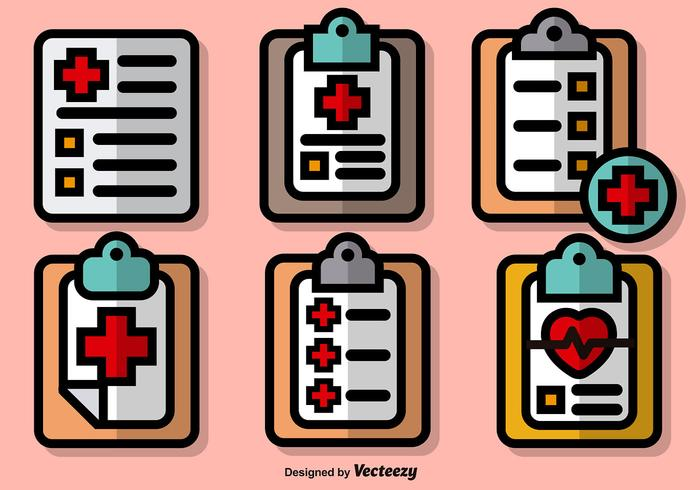 Vector Set Of Colorful Prescription Pad Icons