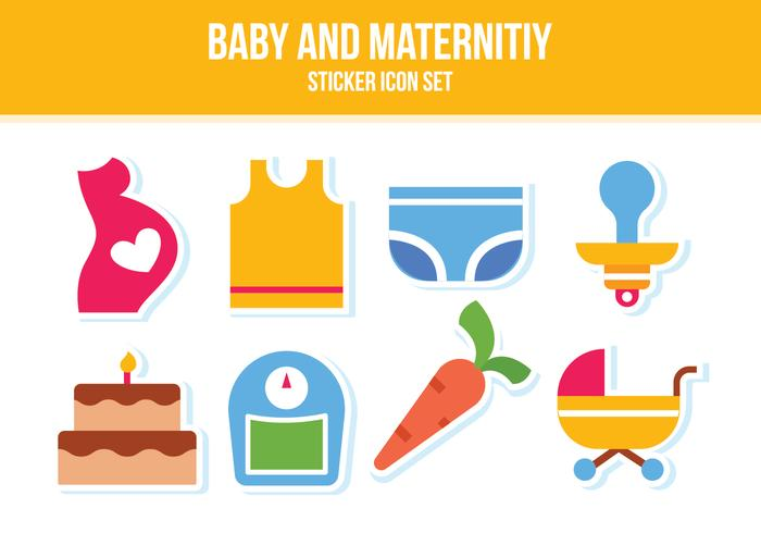 Free Baby und Maternity Sticker Icon Set vektor