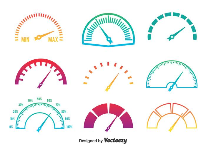 Meter Icons Gradient Colors Vector
