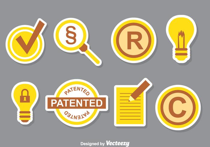 Patent Icons Collection Set vector