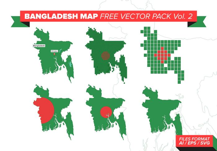 Bangladesh Map Free Vector Pack Vol. 2