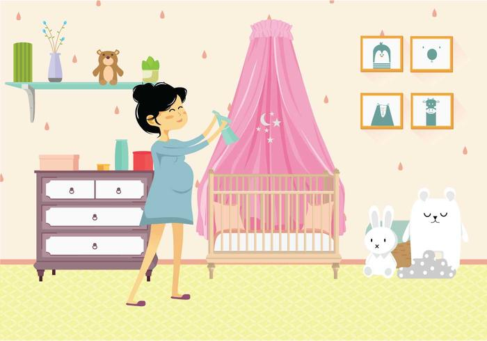 Pregnant Mom in Nursery Illustration