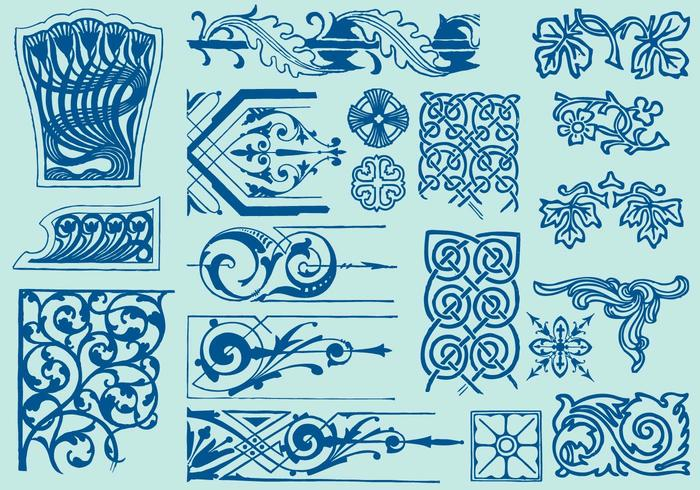 Art deco scroll art