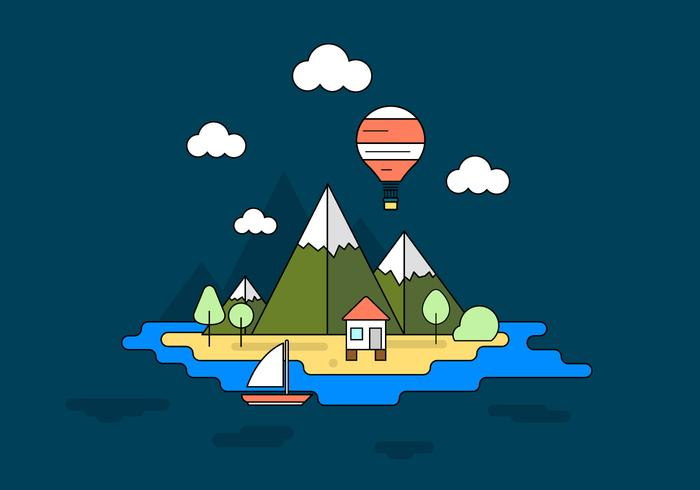 Vacation Island Vector Illustration