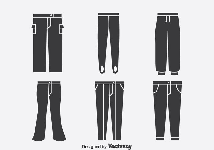 Vettore delle icone della raccolta dei pantaloni