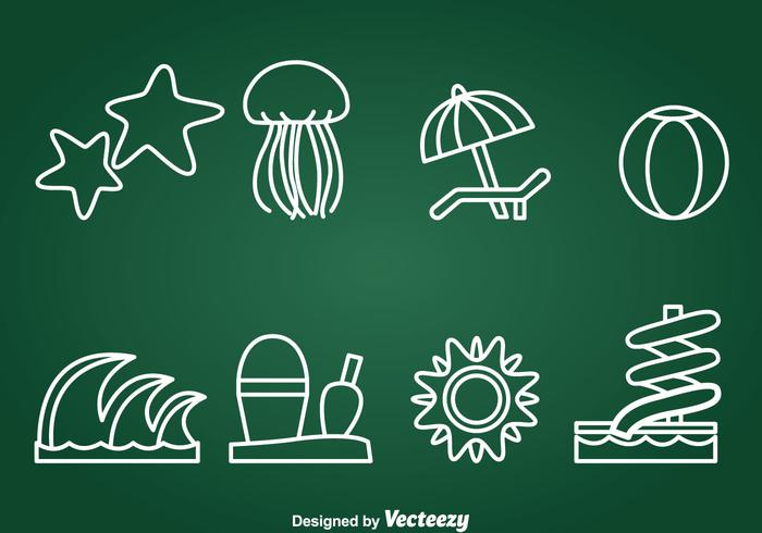 Water Recreation Element Icons Vector