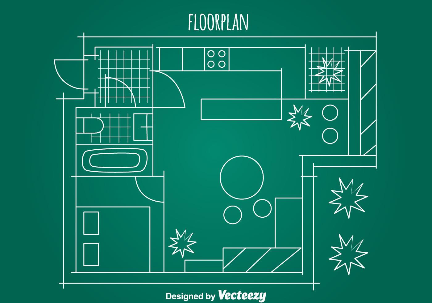 Simple House Floorplan Vector - Download Free Vector Art, Stock ...