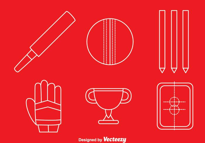 Cricket Element White Line Icons Vector