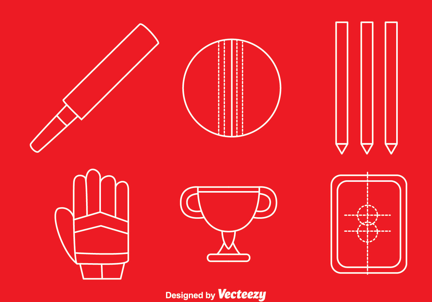 Cricket Vector Background Stock Image: Cricket Element White Line Icons Vector