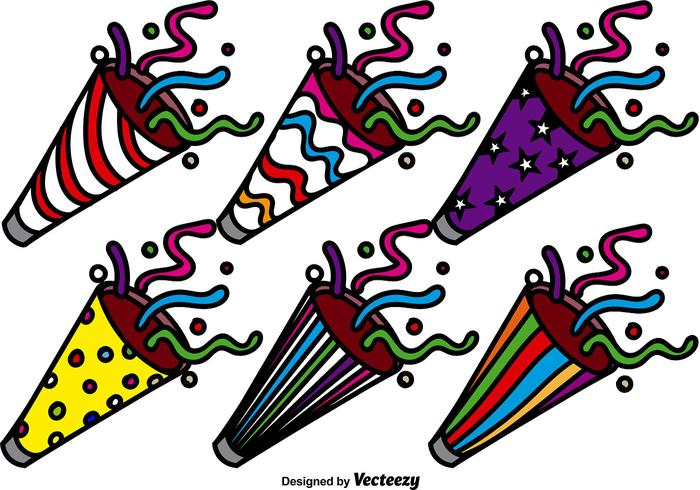 Colorful Party Popper Vector Icon Set
