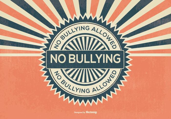 Retro Stijl Geen Bullying Illustratie