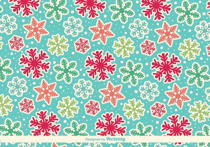 Cartoony Snowflakes Vector Pattern