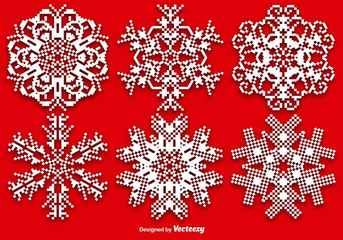 Vector Set Of Pixelated Snowflakes