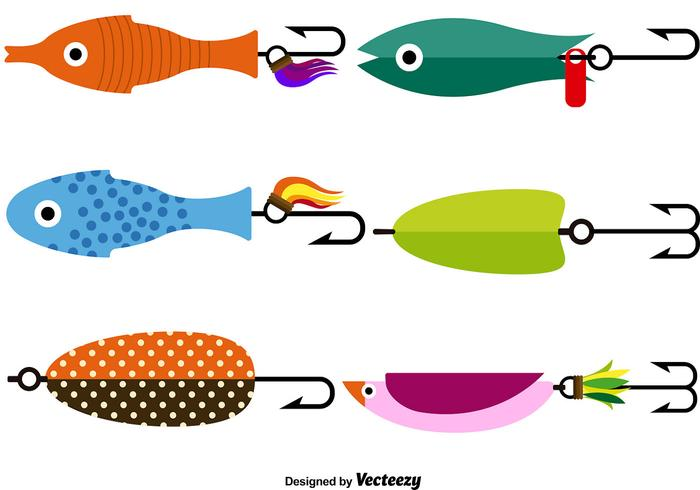Vector de pesca señuelo Icon Set