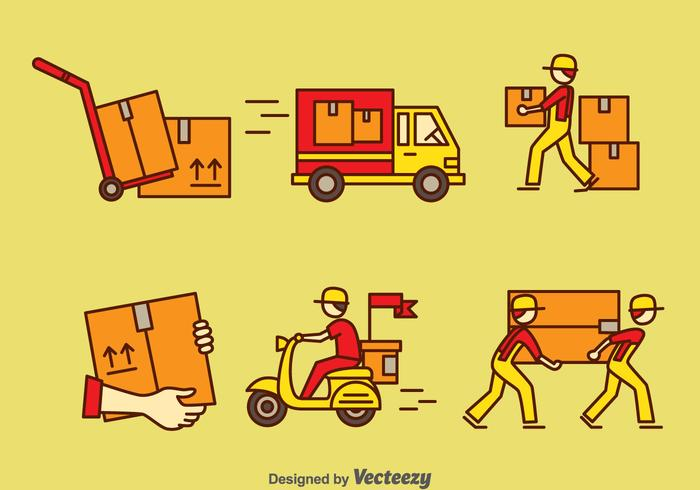 Delivery Man Vector Set