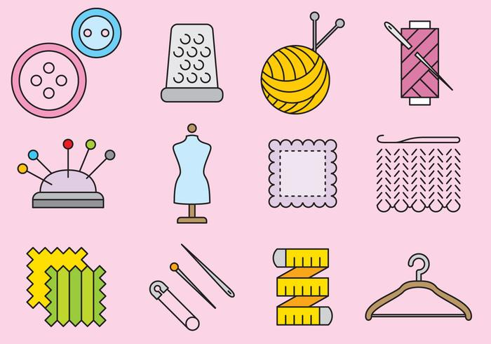 Cute Knitting Icons vector