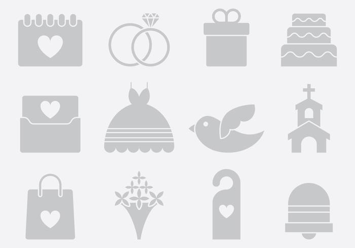 Gray Wedding Icons vector