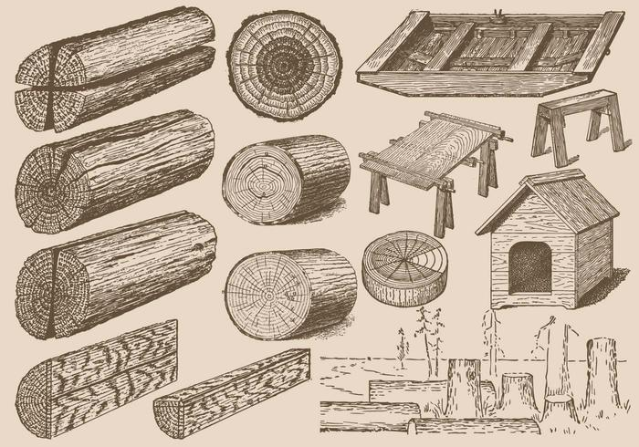 Registros de madeira vintage vetor