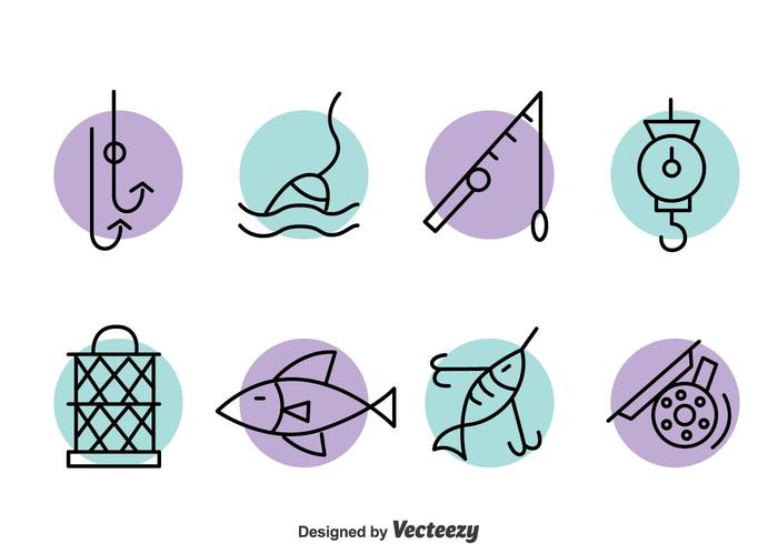Fishing Element Line Icons Vector