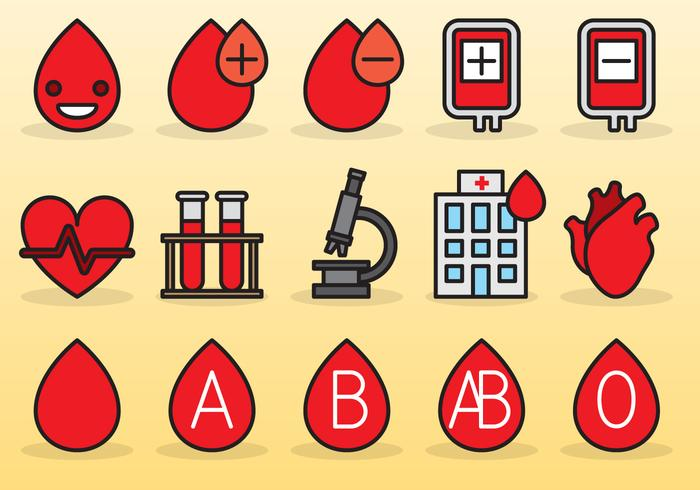Ícones de movimentação de sangue