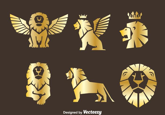 Gold Lion Symbol Vector