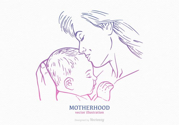 Mom And Child Vector Drawn Silhouette