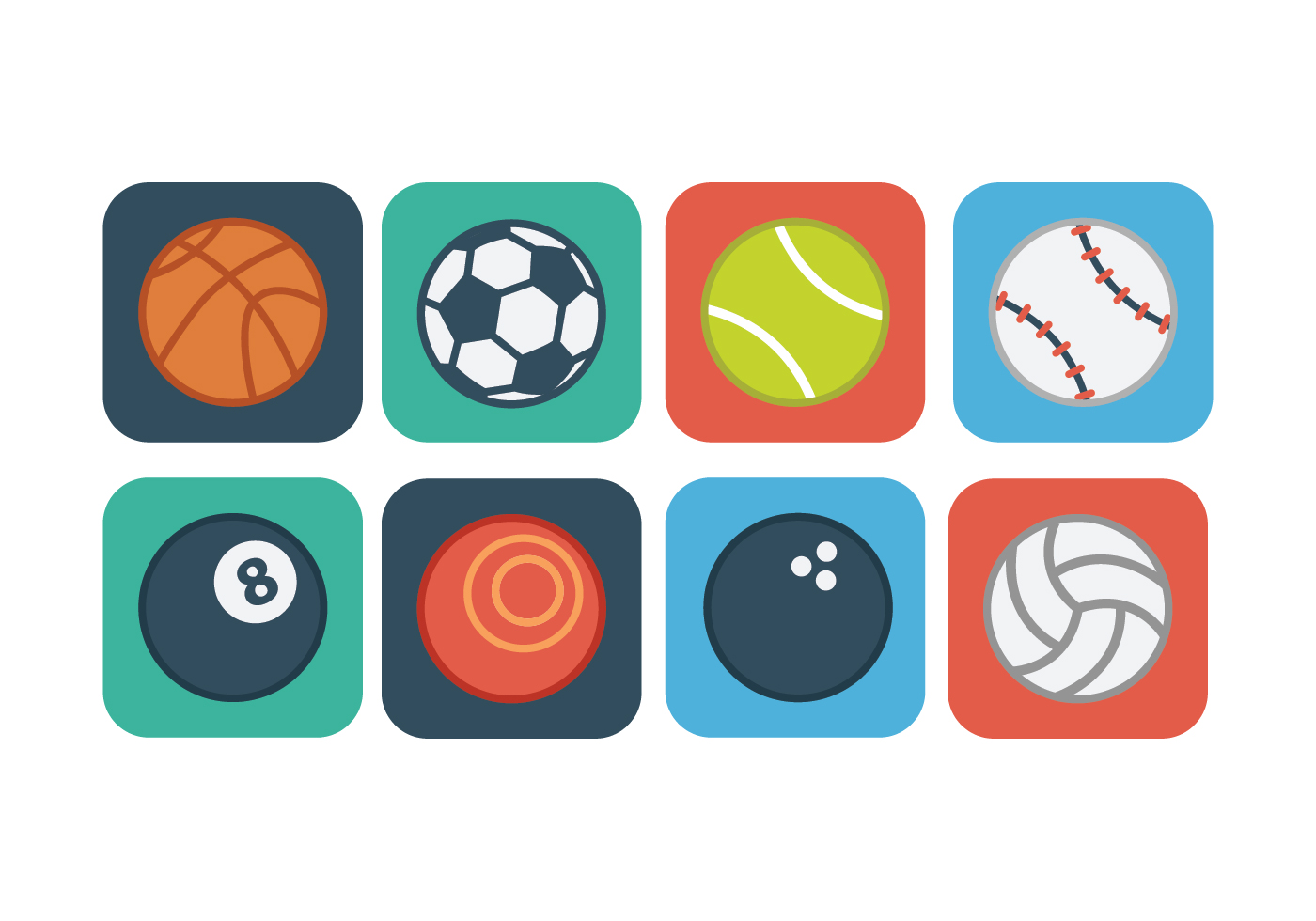 Sports Ball Vector Background Art Free Download: Free Flat Sport Ball Icons