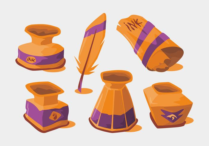 Ink Pot Vector Set