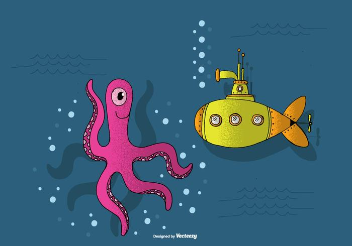Submarine and Octopus Vector