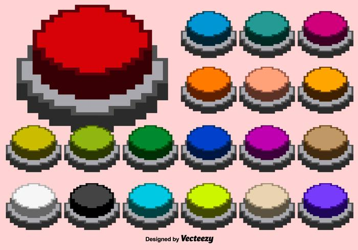 Collection Of Vector Pixelated Arcade Buttons