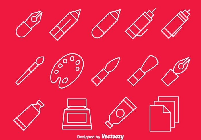 Drawing Tools Line Icons Vector