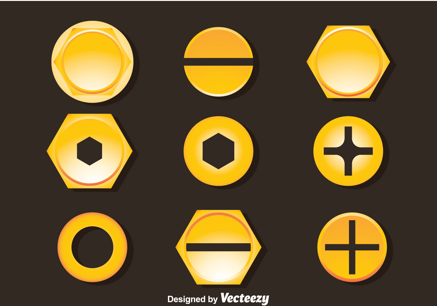 golden bolt and nail head vector download free vector
