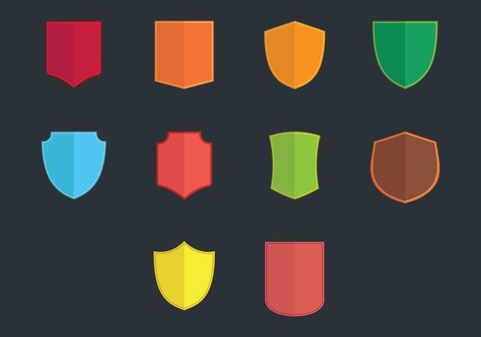 Blason flat icon set vector