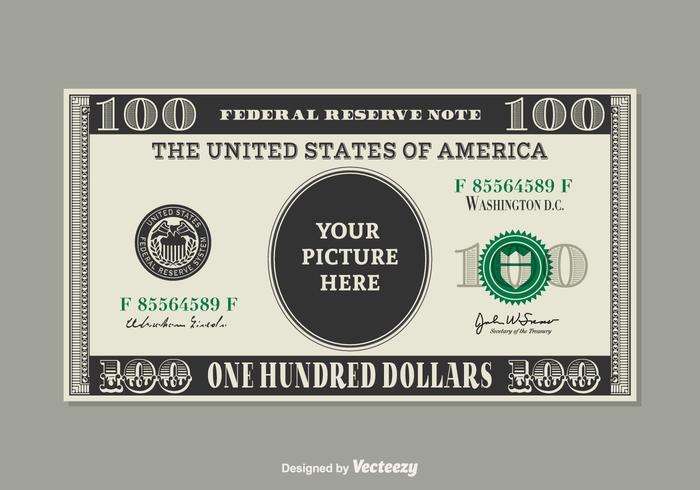 Molde livre de vetores de dólar de 100 dólares