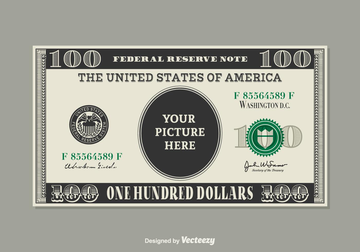 100 Dollar Bill Vector Template - Download Free Vector Art, Stock ...