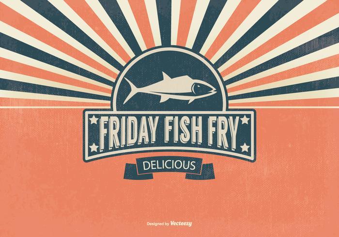 Retro Fish Fry Friday Illustration