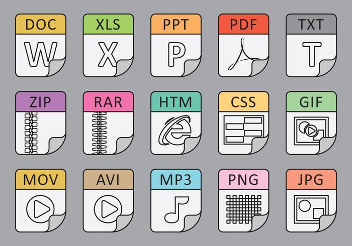 Tipos de archivo Iconos de línea vector