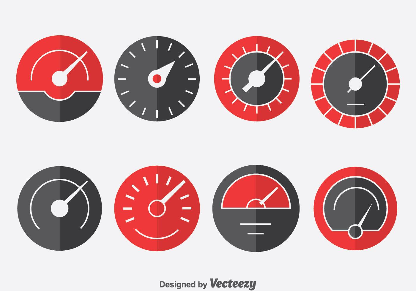 Tachometer Indicator Icons Set - Download Free Vectors ...
