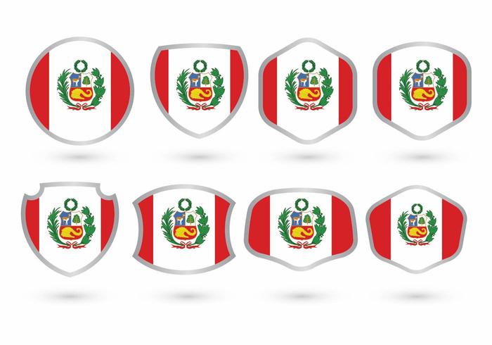 Peru Vlag Badge Set vector