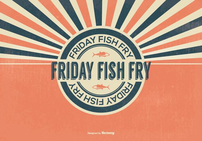 Retro vis fry vrijdag illustratie