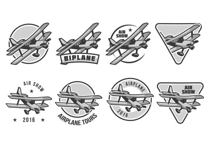 Free Biplane Badge Vector