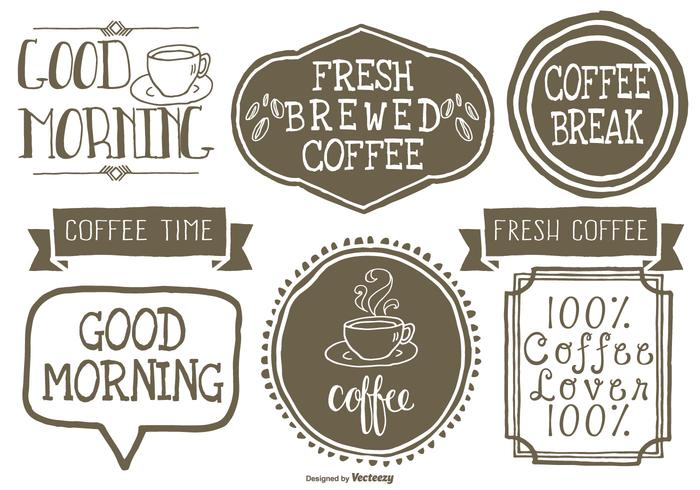 Cute Hand Drawn Style Coffee Lables