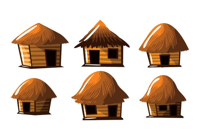 Palha hut shack vector