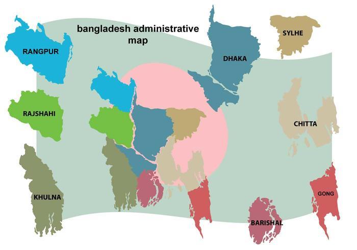 Illustrazione della mappa del Bangladesh vettore