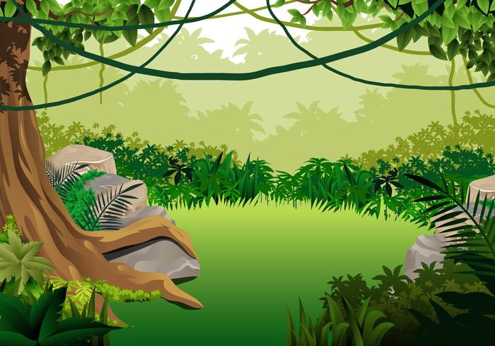Jungle Landscape With Liana Hanging vector