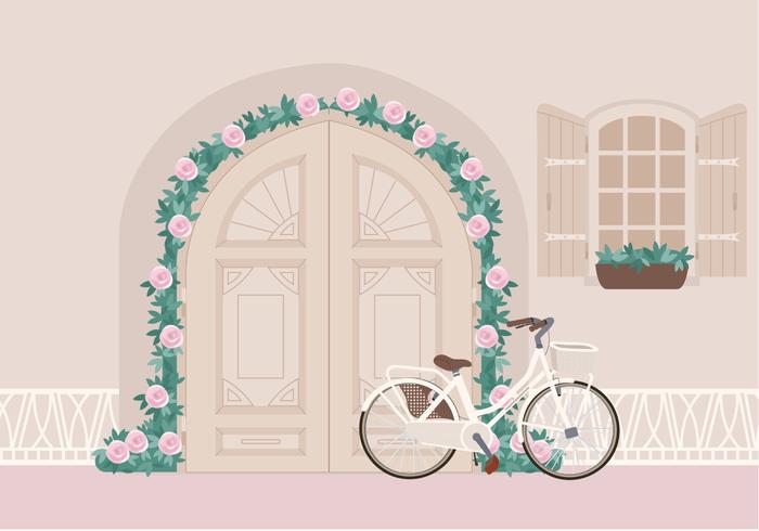 Vector hermosa bicicleta en la ilustración de la puerta